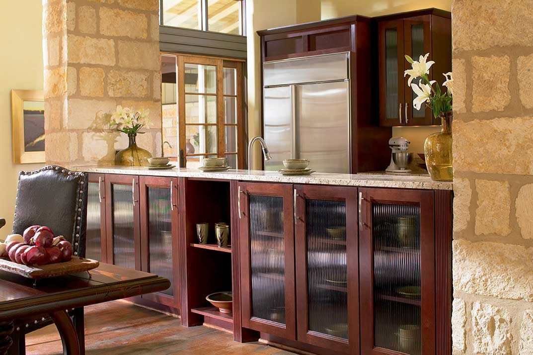 Waypoint living spaces style 420 in cherry bordeaux for Cherry bordeaux kitchen cabinets