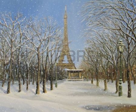 Christmas Winter scene in Paris with the Eiffel Tower at the background painted on the canvas by me  Stock Photo