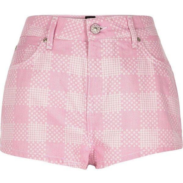 River Island Pink Design Forum floral print denim shorts (£50) via Polyvore featuring shorts, pink, smart shorts, women, pink denim shorts, short jean shorts, jean shorts, high waisted jean shorts and high rise shorts