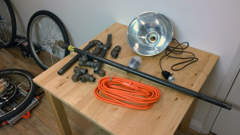The sum total of all the parts in the lamp. Everything here came from Orchard Supply.