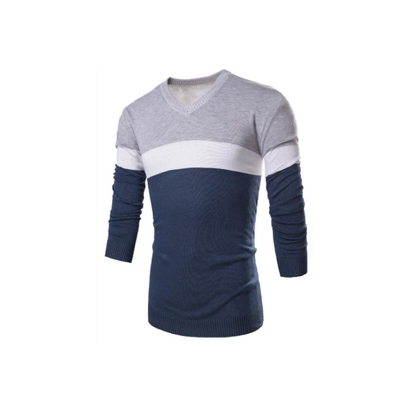 2e9683da1 Camiseta Sueter de Inverno Listrada Masculina em Lã Pulôver Casual ...