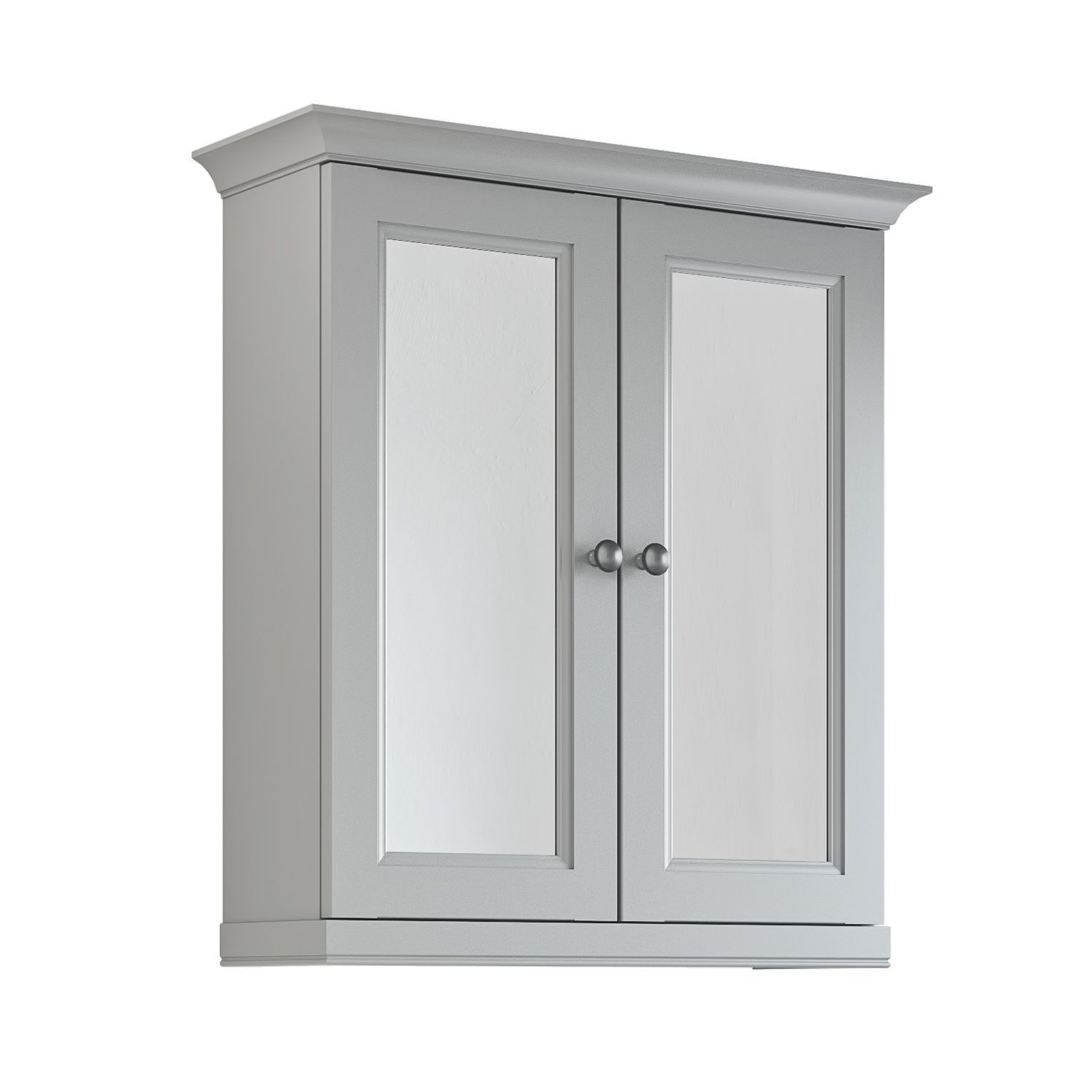 cooke lewis chadleigh double door light grey matt mirror cabinet bq for all your home and garden supplies and advice on all the latest diy trends