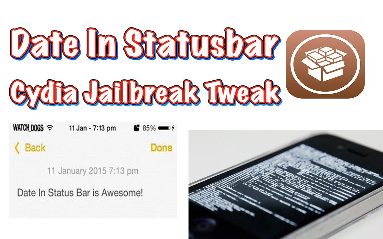 Date In Statusbar: Adds the current date to status bar (Cydia Tweak
