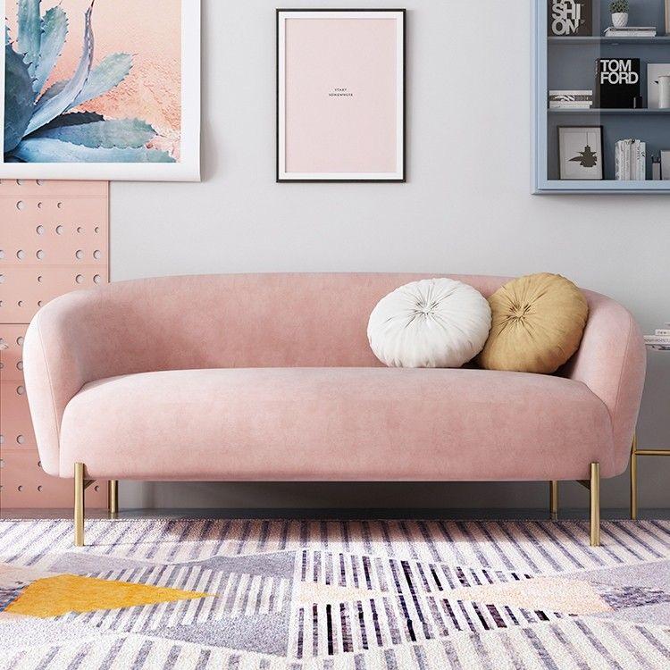 Mid Century 75 Blush Pink Velvet Upholstered Sofa Gold Legs Living Romm Sofa Pillows Included Pink Sofa Living Room Pink Living Room Velvet Living Room
