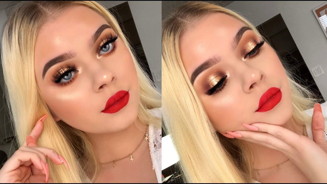 Classic HOLIDAY Glam Makeup Tutorial! Bronze Eyes & Red