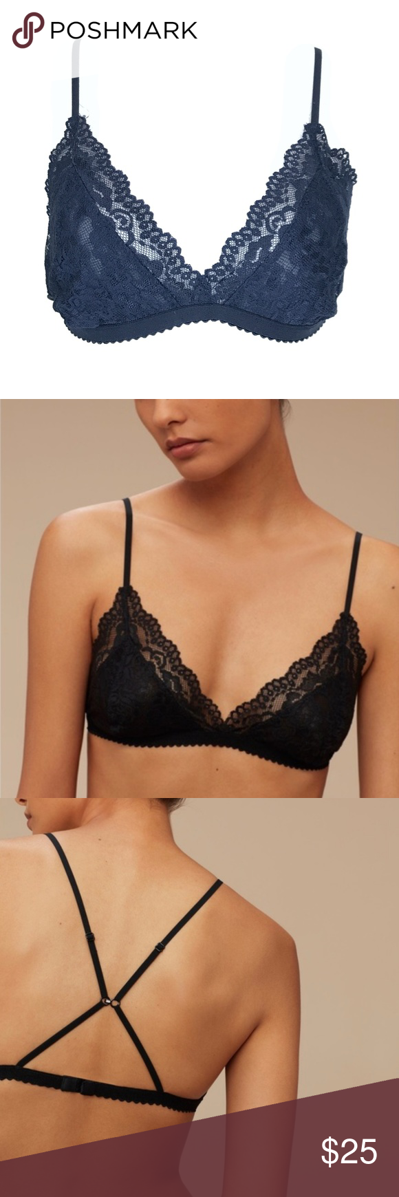 10a63a989c Aritzia Talula Monterey Lace Navy Blue Bralette A two way bralette in navy  blue lace.