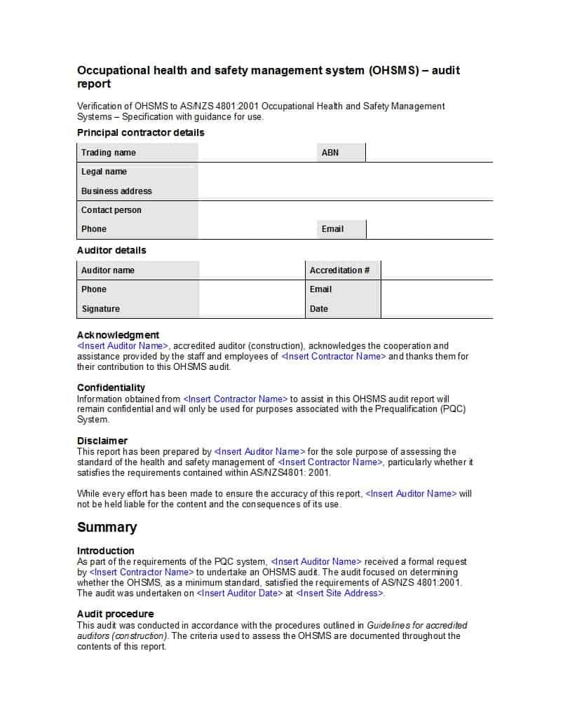 50 Free Audit Report Templates Internal Audit Reports ᐅ For