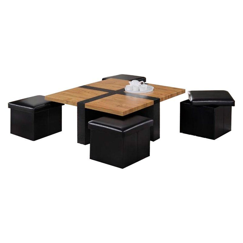 Oakland Living Space Saving Modern Black And Brown Coffee Table