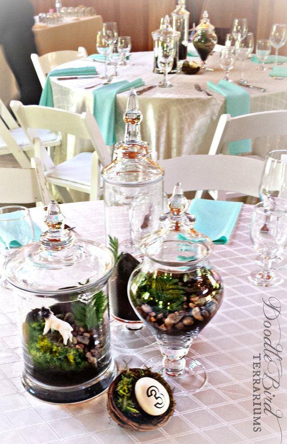 Terrarium Centerpieces For Wedding Tables Via Doodle Bird Terrariums