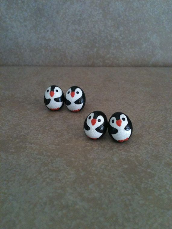 Penguin Studs by SoulJules on Etsy