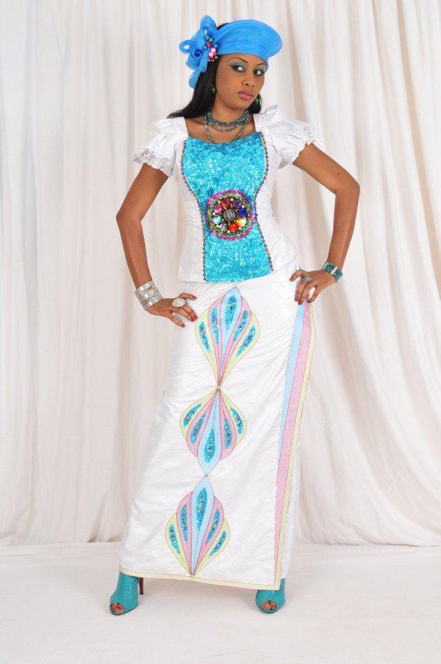 A stunning african women s dress made of white cotton