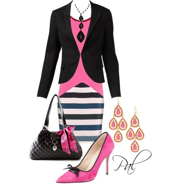 Pink and Black, created by pamlcs on Polyvore