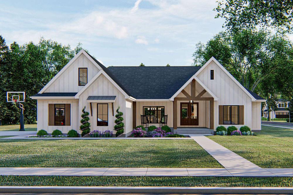 Modern Farmhouse Plan: 2,309 Square Feet, 4 Bedrooms, Bathrooms - 963-00409