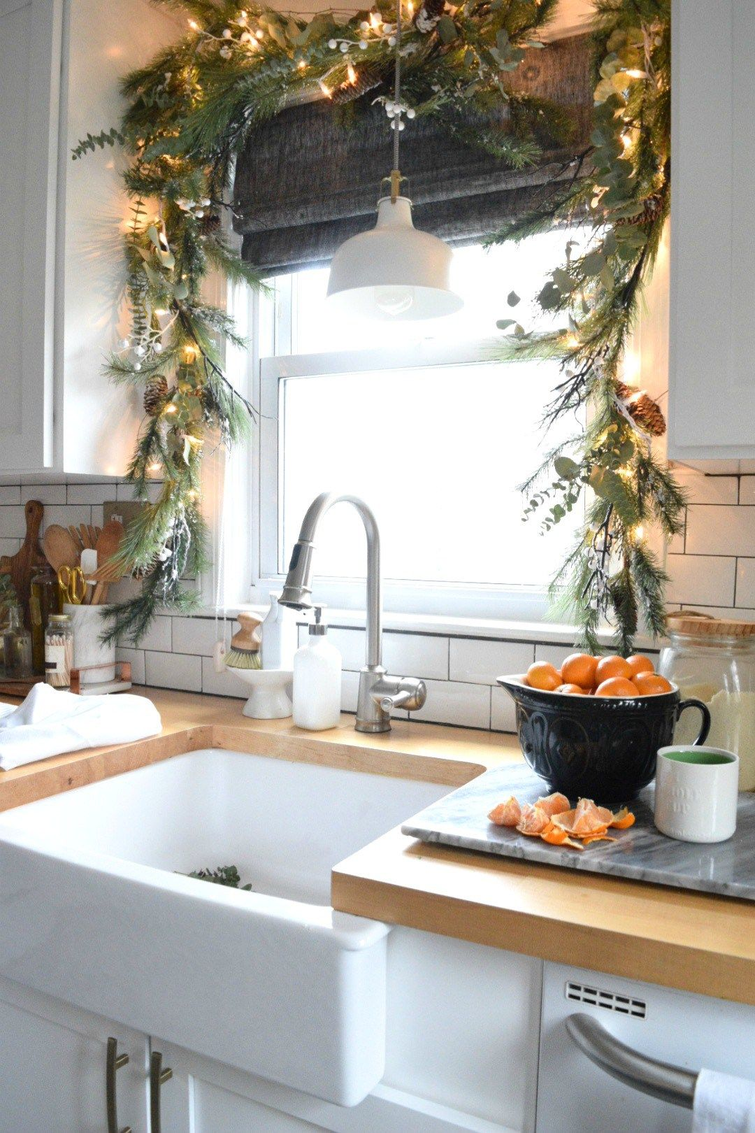 Christmas in our Small Kitchen- Started with Christmas Garland #holidaydecor