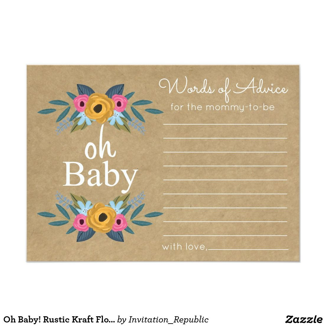 Baby Rustic Kraft Floral Wreath Baby Shower Card