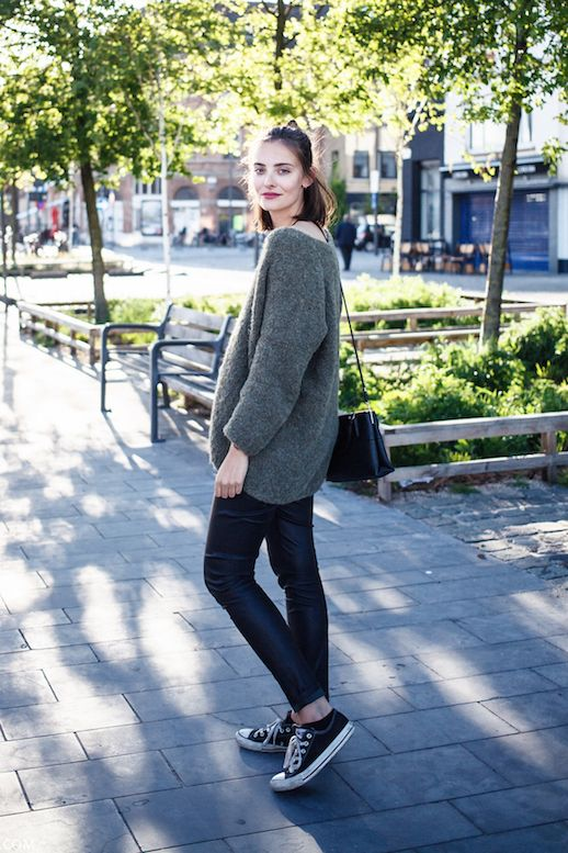 Le Fashion Blog Ways To Wear Black Converse Sneakers Green Mohair Sweater Leather Pants Leggings
