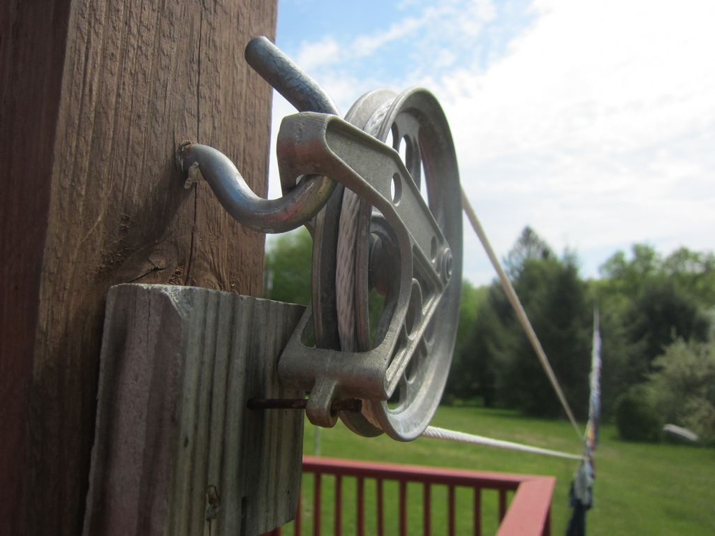 My Clothesline Pulley System From House To Pole Or Tree To Stop