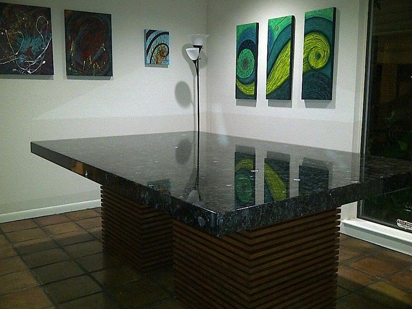 Volga Blue Dining Table Project by MJ Stone #Granite #Marble #Tile #Table #DiningTable #DiningRoom