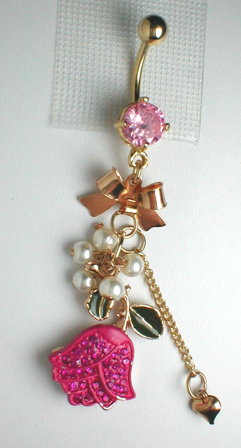 4 belly button piercing  Unique Belly Ring  Pink Tulip  Unique belly rings Pink tulips and