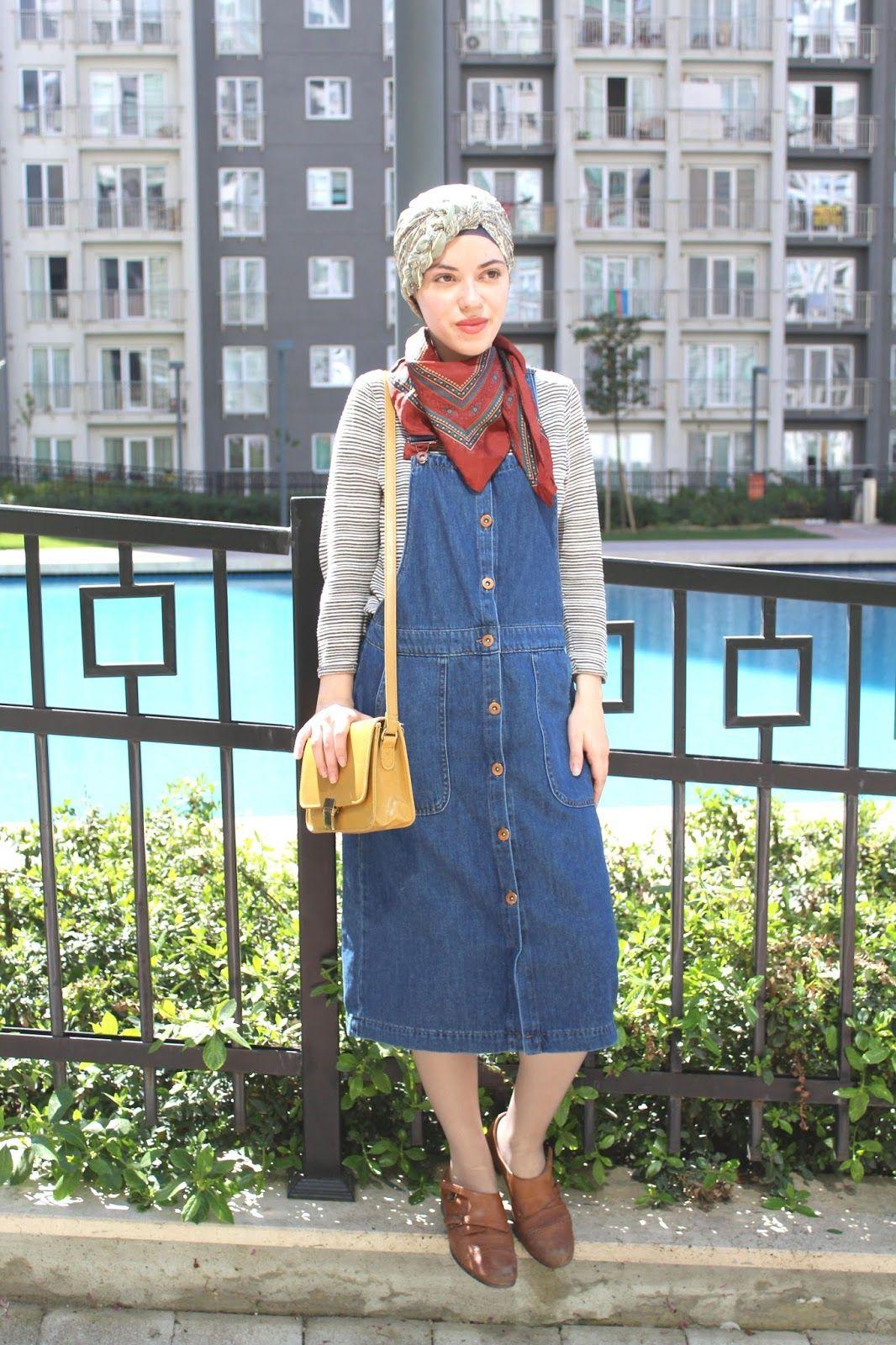 Vintagonista Denim Midi Dungarees Dress Mustard Satchel Brogues And Turban Hijab Folksy