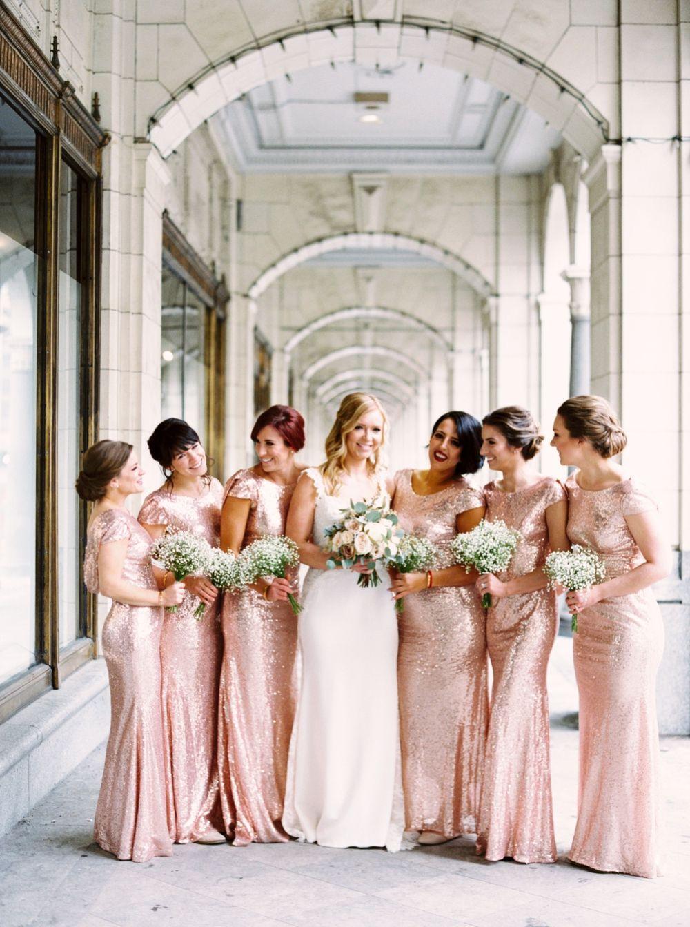 Rose Gold Sequin Bridesmaids Dresses Calgary Wedding Photographers Teatro Wedding New Ye Rose Gold Sequin Bridesmaid Dress Wedding New Years Eve Weddings