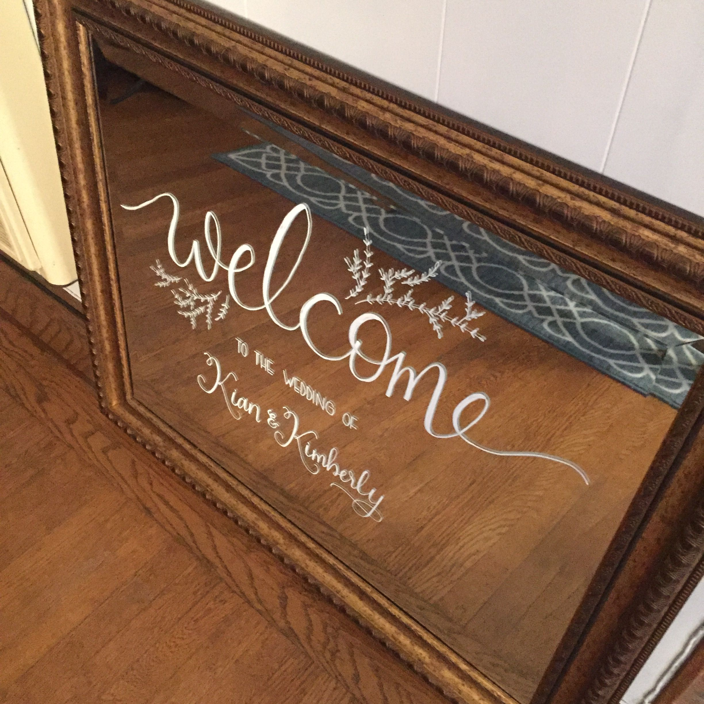 Welcome board on mirror for a wedding | www.prettypleasecalligraphy.com