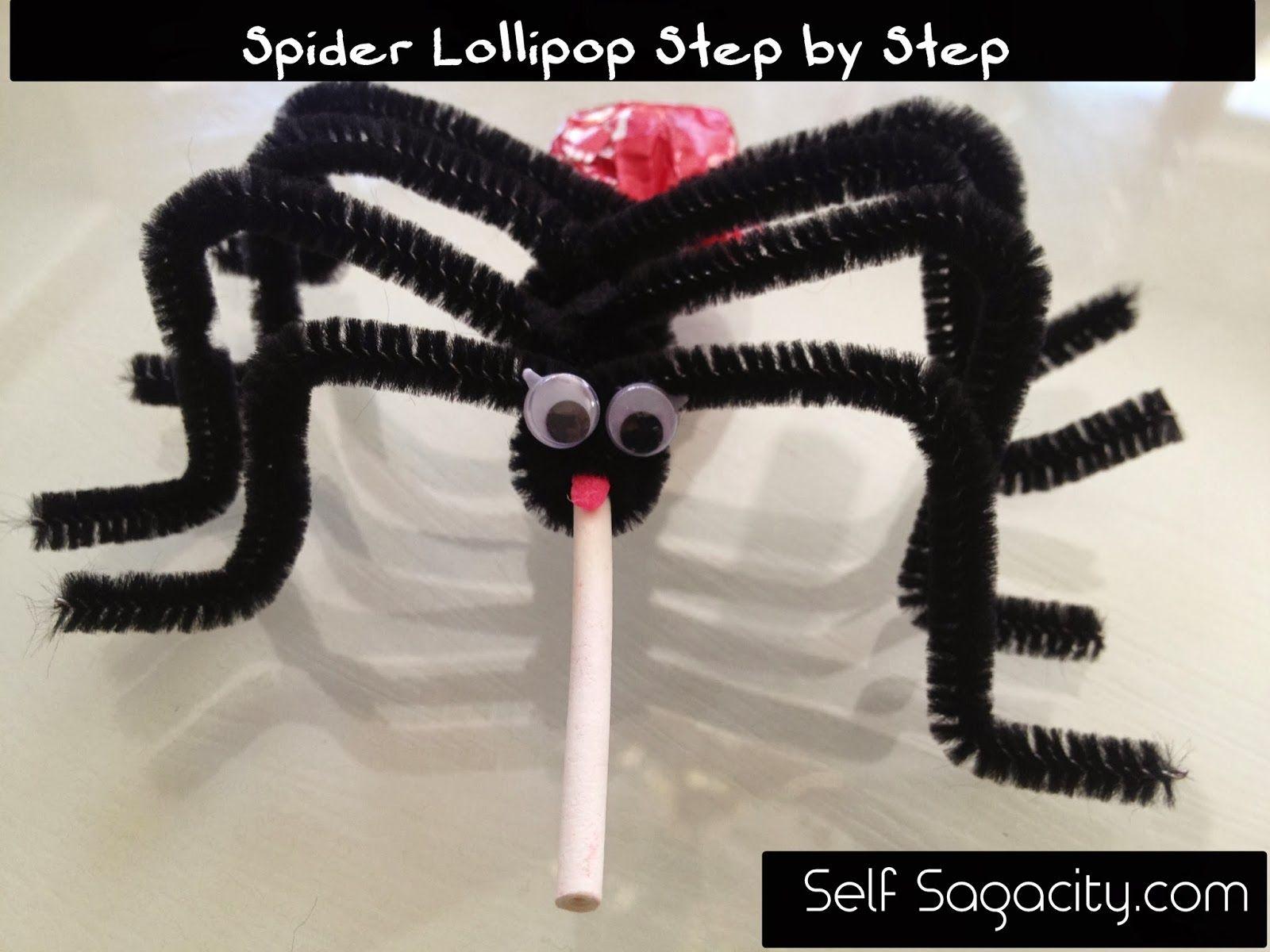 Spider Lollipop Halloween Craft Tutorial - Step by Step for kids.