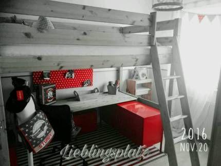 Hochbett Massivholz Gebraucht : Massivholz hochbett 120 x 200 cm mit großer schreibtisch platte! in
