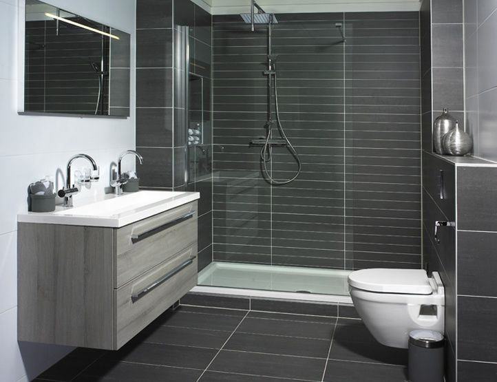 Shower bath gray tiles google search bathroom ideas for Dark bathrooms design