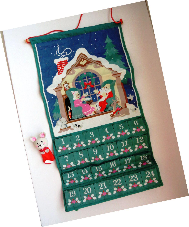 Vintage Avon Christmas Advent Calendar Fabric Holiday Christmas Advent Calendar Christmas Advent Holiday Countdown
