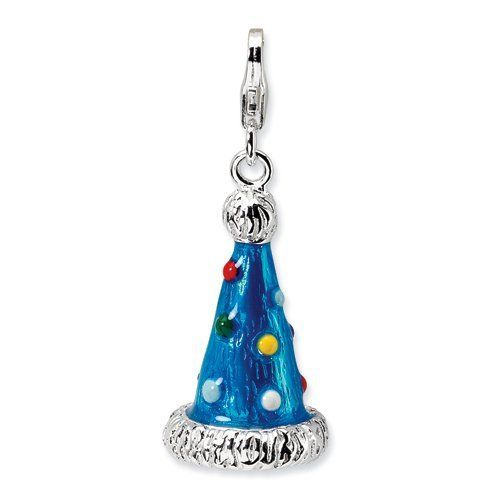 Sterling Silver 3-D Enameled Party Hat w/Lobster Claw Clasp Clasp Charm Real Goldia Designer Perfect Jewelry Gift goldia. $26.84