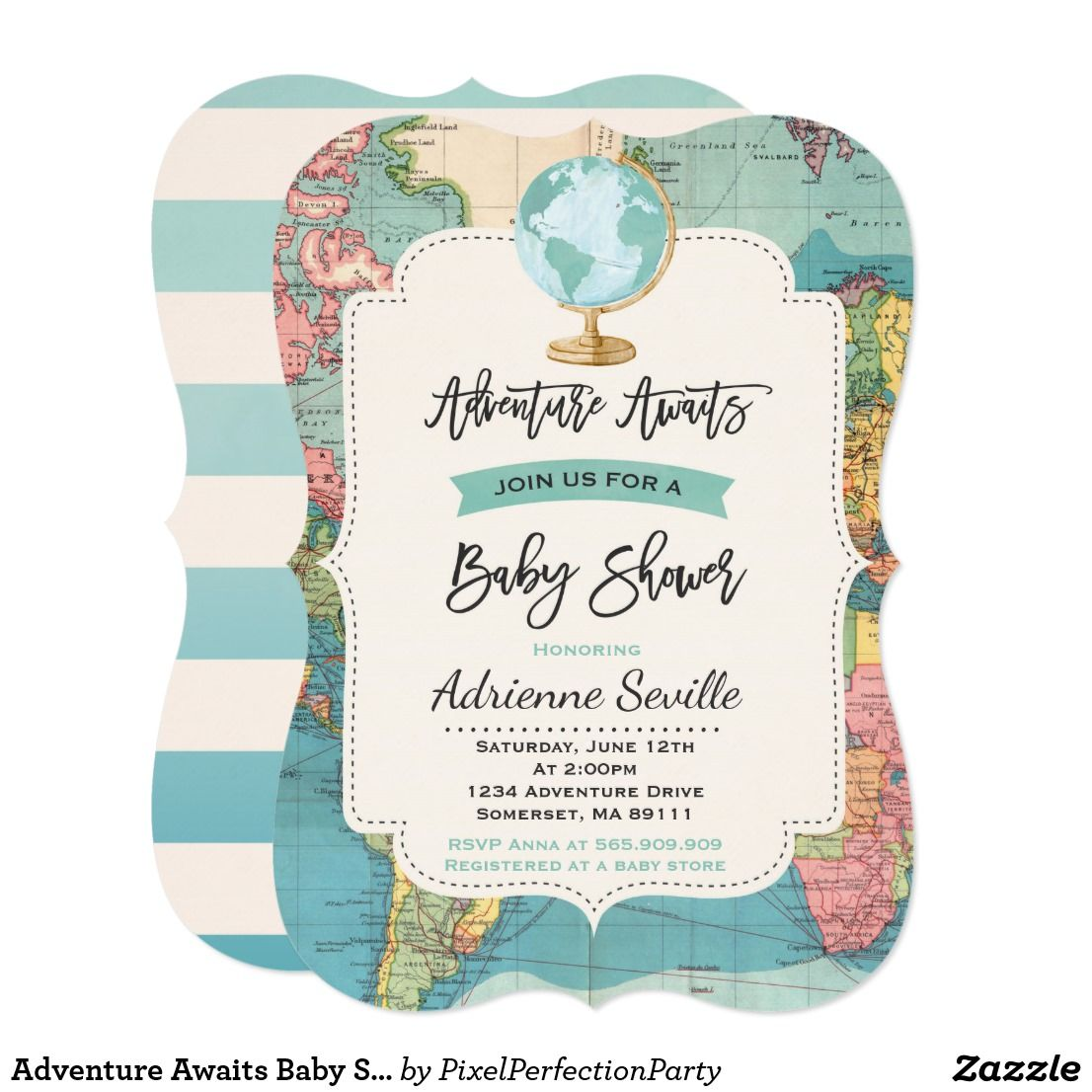Adventure Awaits Baby Shower Invitation Map Shower Zazzle Com Baby Shower Invitations Travel Baby Showers Baby Shower Vintage