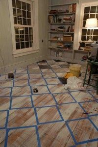 Checkerboard Painted Floor Looks Like The Square That Would Stay
