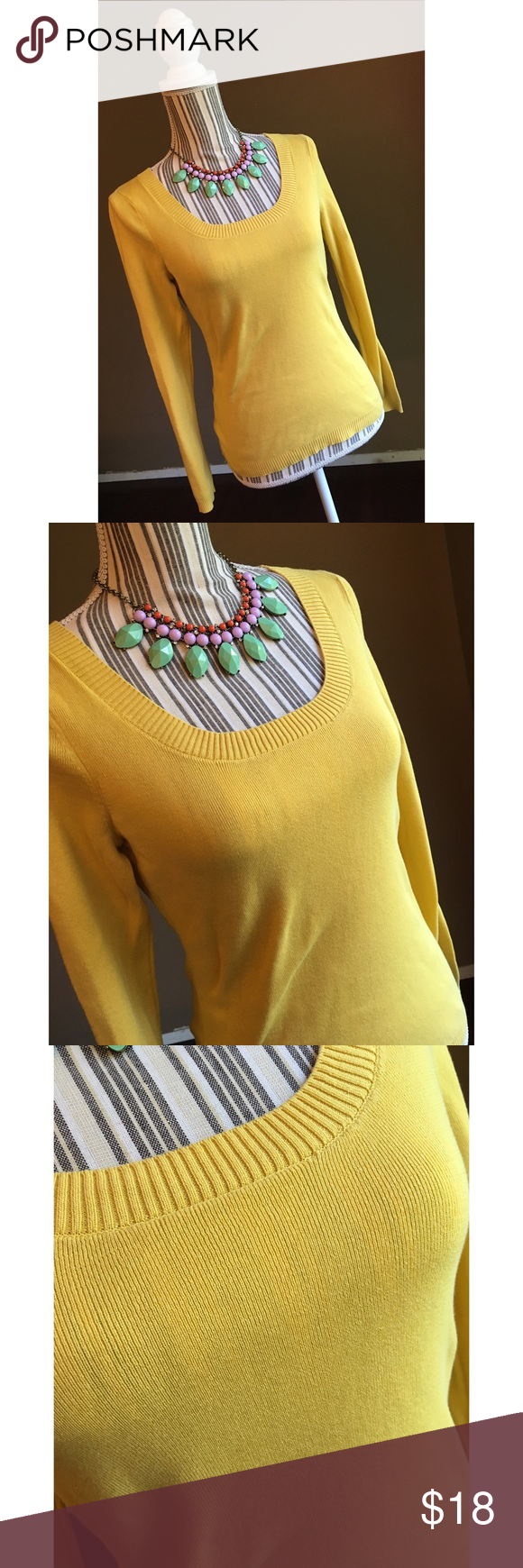Yellow Sweater Cute Yellow Long-Sleeved Sweater by Ann Taylor LOFT ...