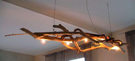 Lampe bois suspendu google search maison pinterest for Luminaire suspendu bois flotte