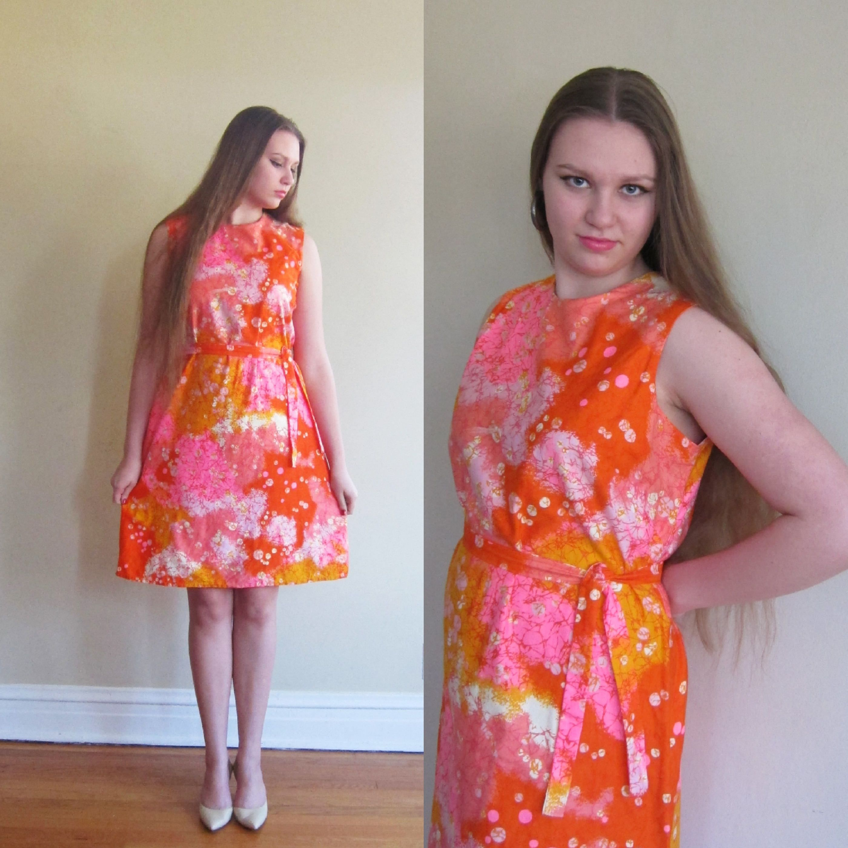 81cf119698a Vintage 1960s Red and Pink Shift Dress in Bright Floral Print   60s Sleeveless  Summer Sun Dress Loll Ease Cotton Print   Large Plus Size by BasyaBerkman  on ...