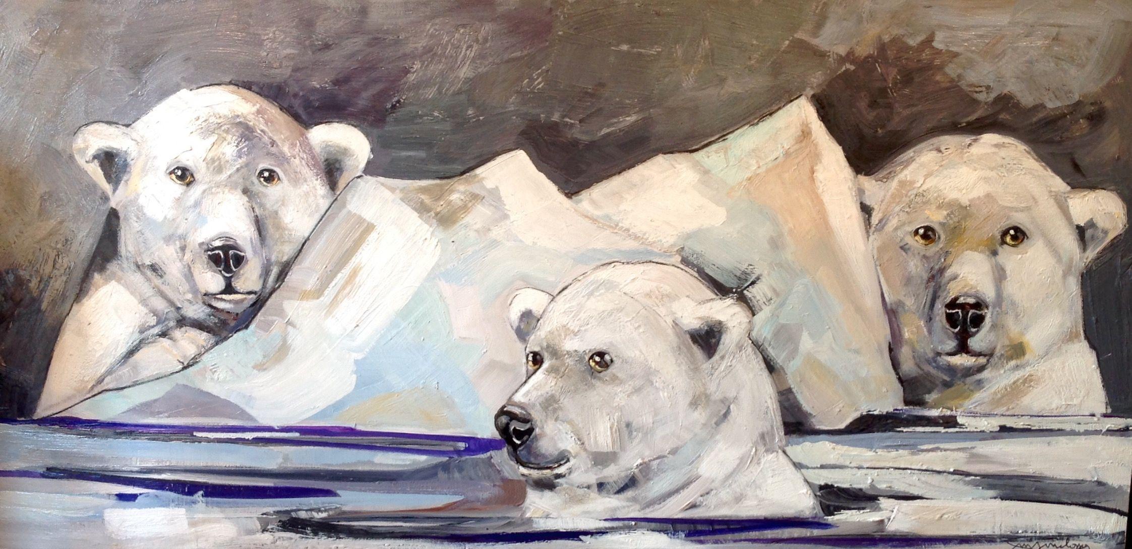 nom de l 39 oeuvre bain glace marta milossis tableaux painting polar bear et art. Black Bedroom Furniture Sets. Home Design Ideas