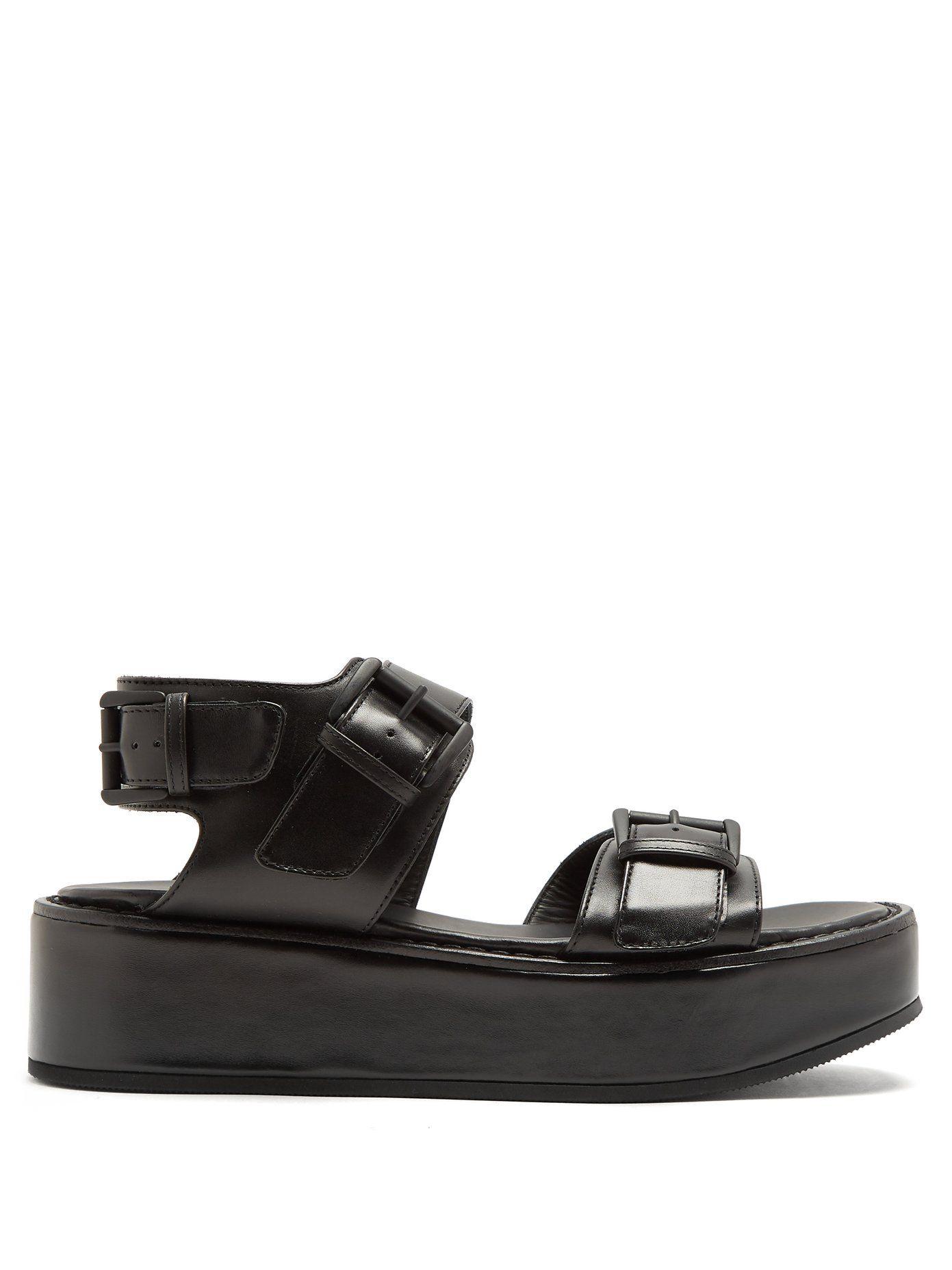 20ae0257ffdd Ann Demeulemeester Black Flatform 50 Leather Sandals in 2019 ...