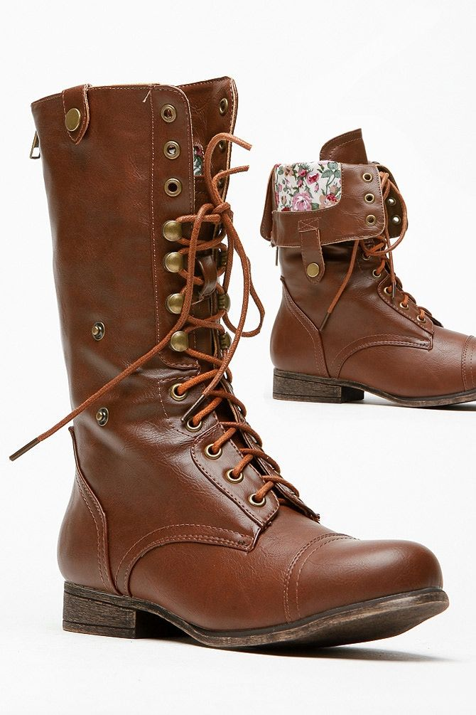 496ab8e14e9 Bamboo Fold Over Floral Print Combat Boot   Cicihot Boots Catalog women s  winter boots