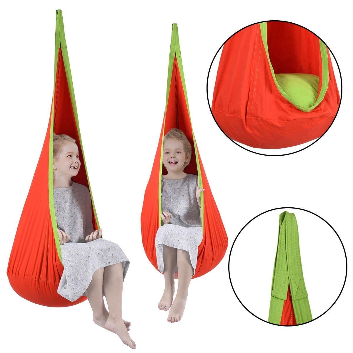 Costway child pod swing chair tent nook indoor outdoor hanging seat