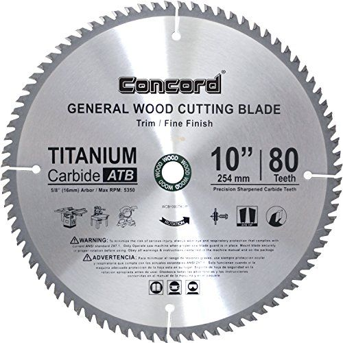 Concord Blades Wcb1000t080hp 10inch 80 Teeth Tct General Purpose Hard Soft Wood Saw Blade Visit The Image L Circular Saw Blades Best Circular Saw Saw Blade