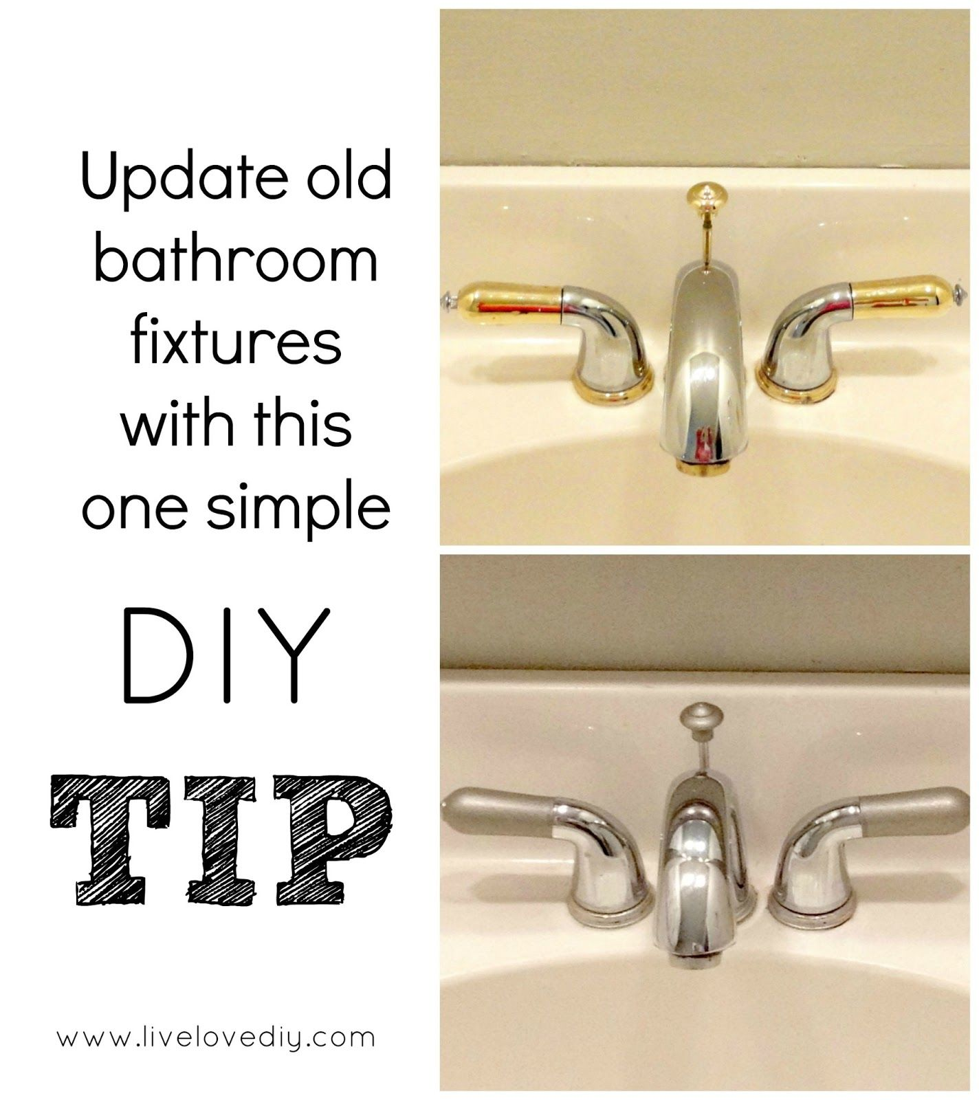 Removed The Handles Drain Stopper And Spray Painted Them With Brushed Nickel Silver Metallic Pai Diy Home Improvement Bathroom Makeover Bathroom Fixtures