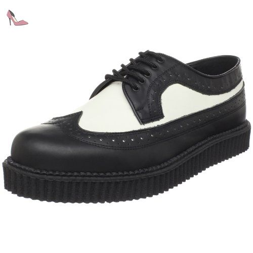 Creeper-608, Richelieu Homme, Noir - Nero (Blk-WHT Leather), 41 EU (8 Herren UK)Demonia