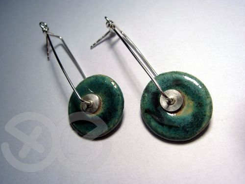 CERAMIC TURQUOISE AND GREEN - SILVER EARRINGS