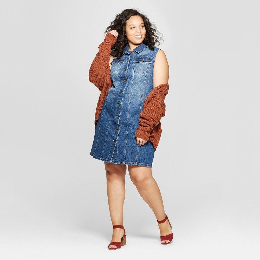d74c46502bc Women s Plus Size Sleeveless Collared Denim Dress - Universal Thread Blue  14W
