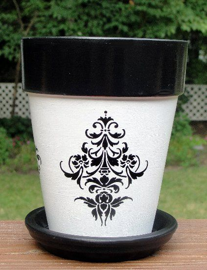 Painted Flower Pots Fleur De Lis Hand Painted Flower Pot Hand