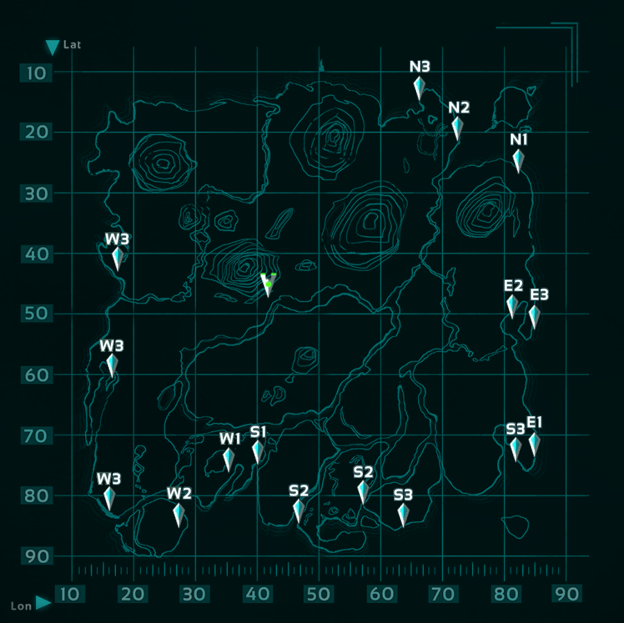 A Map Of The Spawn Positions Ark Survival Evolved Ark Survival Evolved Game Ark Survival Evolved Ark Survival Evolved Tips