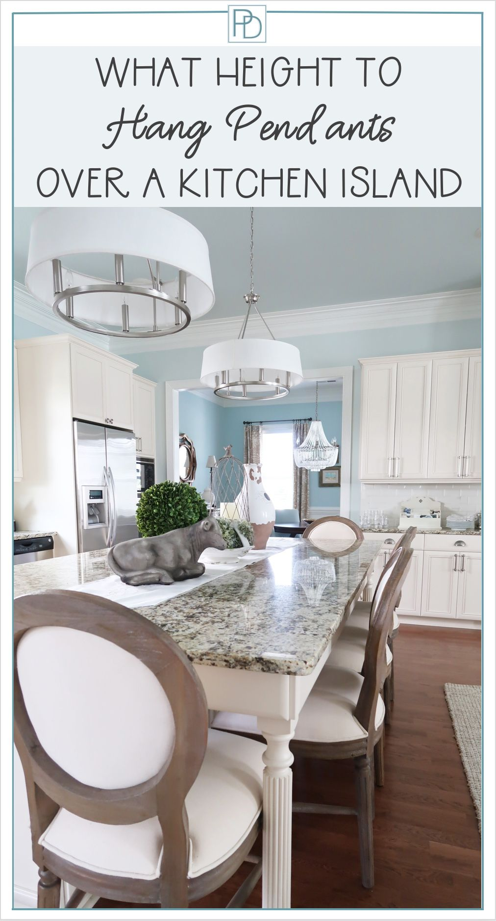 a quick and inexpensive update over your kitchen island is new light