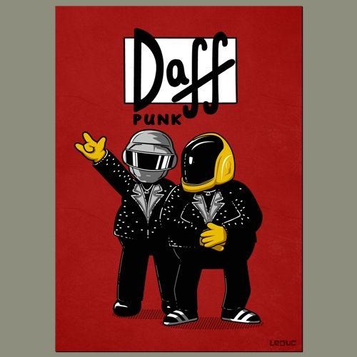dessin daft punk, affiche Homer Simpson, serigraphie t-shirt