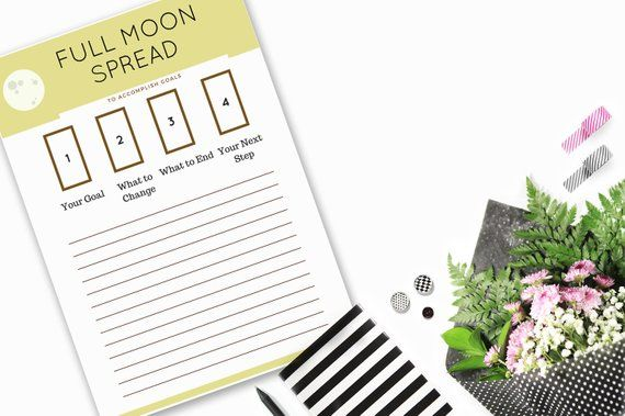 A5 Sized - Full Moon Tarot Spread, Instant Download Journal Page Inserts via PDF #fullmoontarotspread